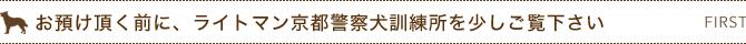 お預け頂く前に、ライトマン京都警察犬訓練所を少しご覧下さい